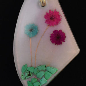 Large Pendent with Colored Flowers copper stems